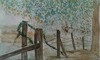 Painting - the Old fence by Judi Goodwin