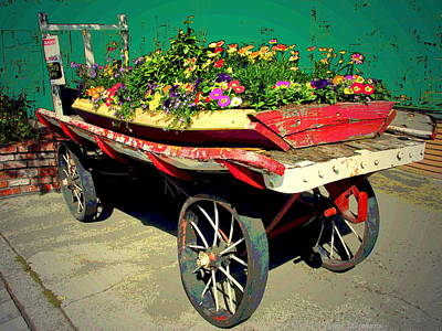 Scenic Photograph - The Old Flower Cart In Truckee Ca by Joyce Dickens