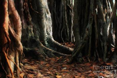 Tree Roots Art Painting - The Old Forest By Sarah Kirk by Sarah Kirk