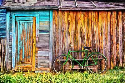 Shed Painting - The Old Green Bicycle by Edward Fielding