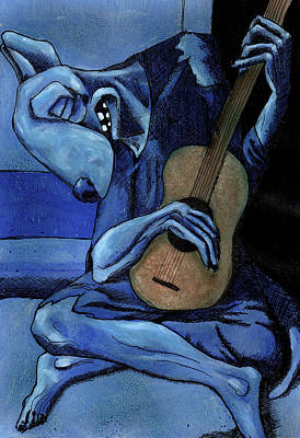 Picasso Mixed Media - The Old Guitar Dog by Bizarre Bunny
