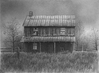 Cabin Window Drawing - The Old Home Place by Ralph Cale