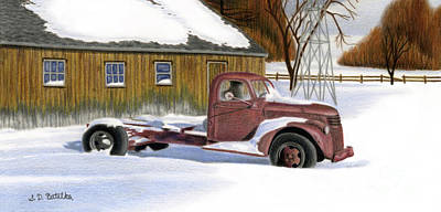 Chevy Drawing - The Old Jalopy by Sarah Batalka