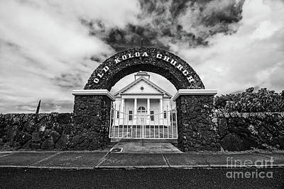 Photograph - The Old Koloa Church - Bw by Scott Pellegrin