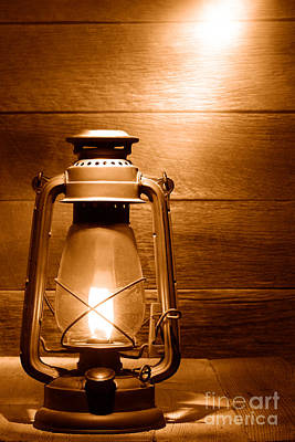 Kerosene Lamp Photograph - The Old Lamp - Sepia by Olivier Le Queinec