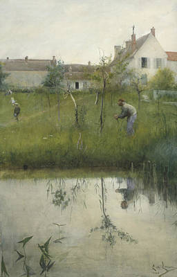 Painting - The Old Man And The Nursery Garden by Carl Larsson