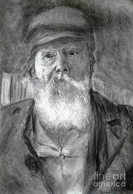 Drawing - The Old Man by Jasna Dragun