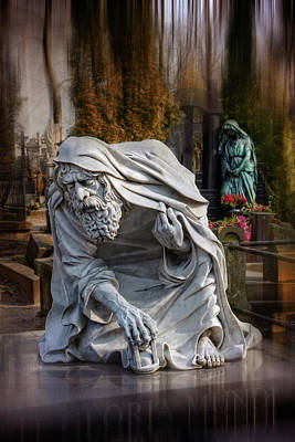 Haunting Art Photograph - The Old Man Of Powazki Cemetery Warsaw  by Carol Japp