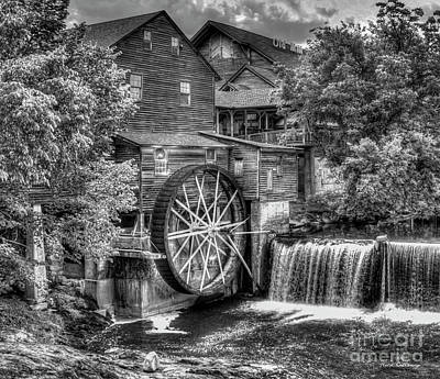 The Old Mill B W The Pigeon Forge Mill Art Great Smoky Mountains Art Art Print by Reid Callaway