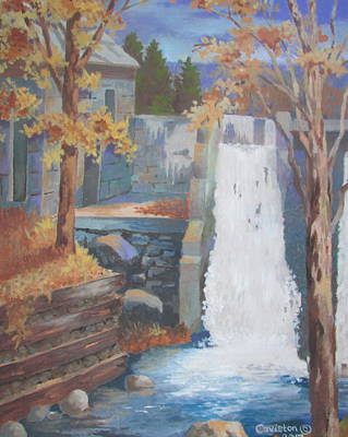 Old Mill Scenes Painting - The Old Mill Falls by Tony Caviston