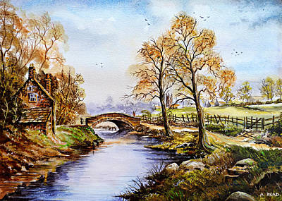 Painting - The Old Mill Path Edit 1 by Andrew Read