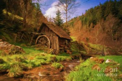 Log Cabin Art Painting - The Old Mill by Sarah Kirk