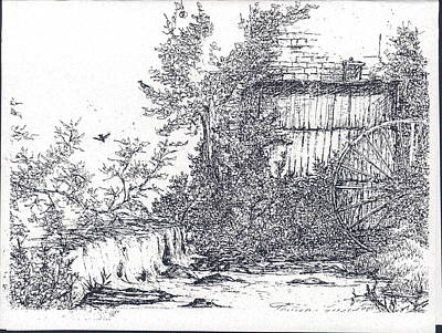 Pen And Ink Old Mill Drawing Drawing - The Old Mill by Theresa Causey