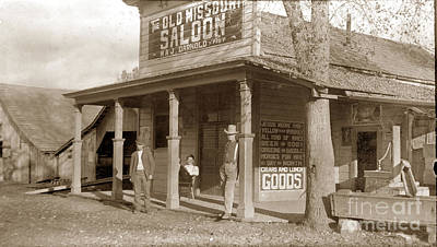 Photograph - The Old Mission Saloon Maj. Darnold Prop.  Circa 1900 by California Views Archives Mr Pat Hathaway Archives