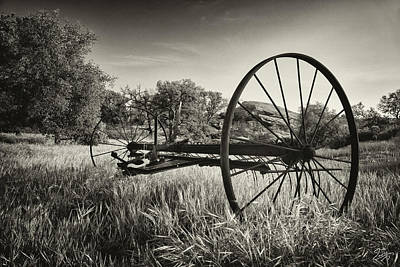 Photograph - The Old Mower 2 In Black And White by Endre Balogh