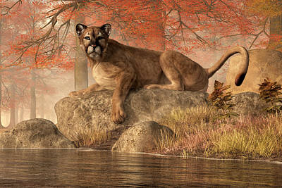 Large Cats Digital Art - The Old Mountain Lion by Daniel Eskridge