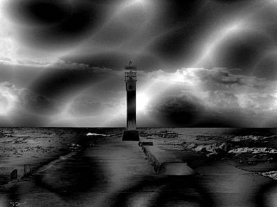 The Old Pier Before A Storm Art Print by Abstract Angel Artist Stephen K
