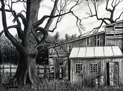 Fence Drawing - The Old Place by Bob Crawford