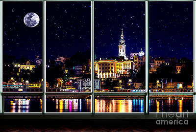 Photograph - The Old Port Of Belgrade At Night by Milan Karadzic