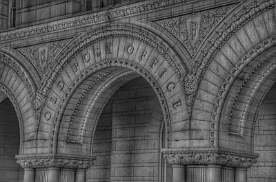 Photograph - The Old Post Office Sign Now Trump International Hotel In Washington D.c.  - Black And White by Marianna Mills