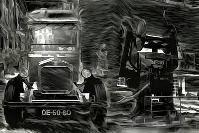 Lisbon Photograph - The Old Printer Mystery Bw by Daniel Arrhakis
