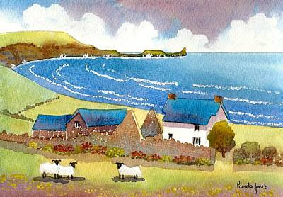 The Gower Painting - The Old Rectory Rhossili Gower Wakes Uk by Pamela Jones
