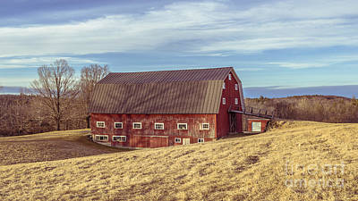 New England Dairy Farms Photograph - The Old Red Barn In Winter by Edward Fielding