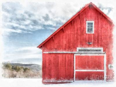 Painting - The Old Red Barn Newport New Hampshire Watercolor by Edward Fielding