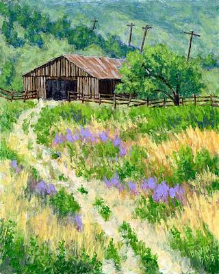 Old Barn Painting - The Old Road To The Old Shed by David King