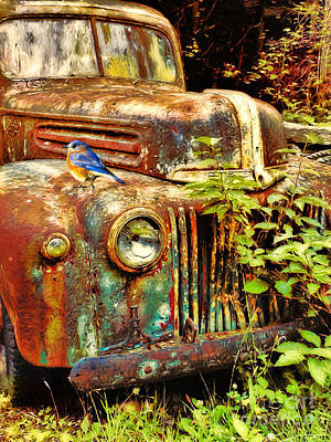 Digital Art - The Old Rusty Ford by Tina LeCour