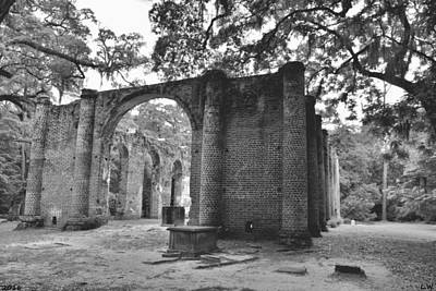 Photograph - The Old Sheldon Church Ruins Black And White by Lisa Wooten