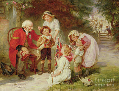 Trumpet Painting - The Old Soldier by Frederick Morgan