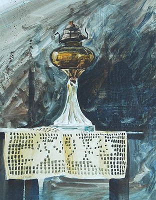 Oil Lamp Painting - The Old Table Cloth by Len Stomski