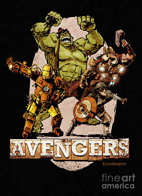 Steampunk Digital Art - The Old Time-y Avengers by Brian Kesinger