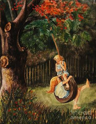 Swing Painting - The Old Tire Swing by Marilyn Smith