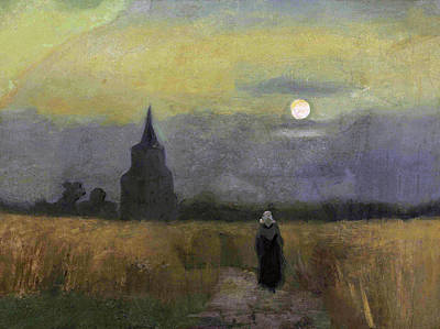 Painting - The Old Tower At Dusk by Vincent van Gogh