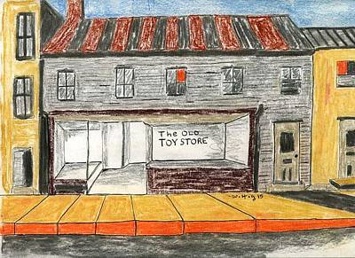 Abandoned Building Drawing - The Old Toy Store by Robert Wittig