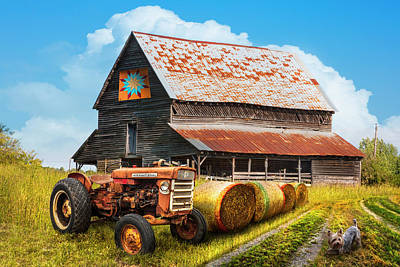 Photograph - The Old Tractor At The Quilt Barn by Debra and Dave Vanderlaan