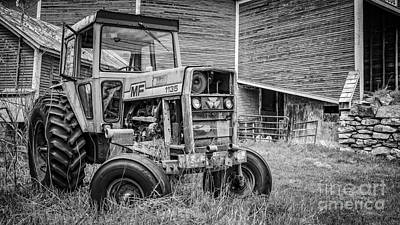 Round Barn Photograph - The Old Tractor By The Old Round Barn by Edward Fielding