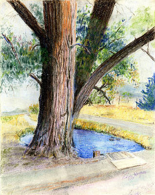 Tree Trunk Pastel - The Old Tree by Arline Wagner