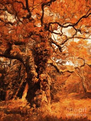 Mystical Landscape Painting - The Old Tree By Sarah Kirk by Sarah Kirk