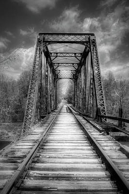 Photograph - The Old Trestle In Black And White Painterly by Debra and Dave Vanderlaan