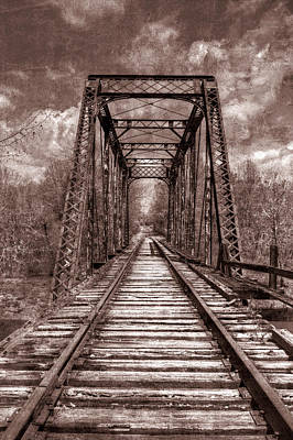 Photograph - The Old Trestle In Sepia by Debra and Dave Vanderlaan