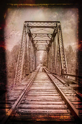 Photograph - The Old Trestle In Sepia With Painterly Border by Debra and Dave Vanderlaan