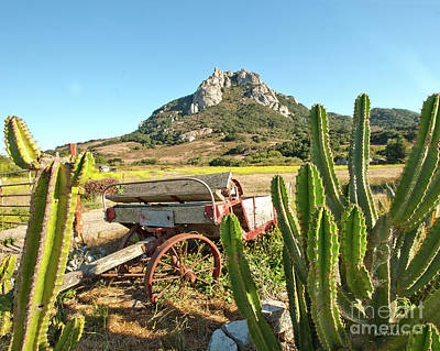 Photograph - The Old Wagon And Cactus Patch In Front Of One Of The Seven Sisters In San Luis Obispo California by Artist and Photographer Laura Wrede