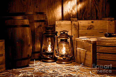 Kerosene Lamp Photograph - The Old Warehouse - Sepia by Olivier Le Queinec