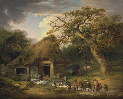 Water Dog Painting - The Old Water Mill by George Morland