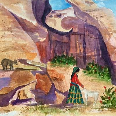 Painting - Navajo Woman And Sheep Square by Ellen Levinson