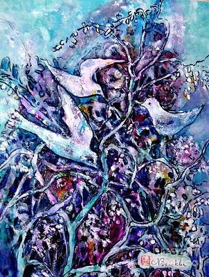 Tapestries Textiles Painting - The Old Wisteria by Norma Boeckler