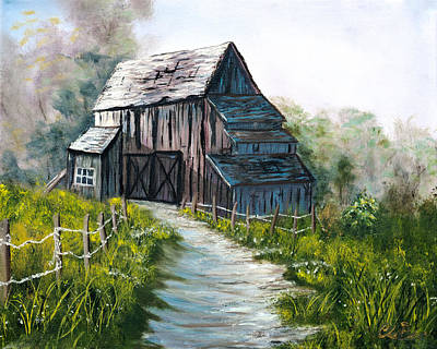 Bob Ross Painting - The Old Wooden Barn  by Claude Beaulac